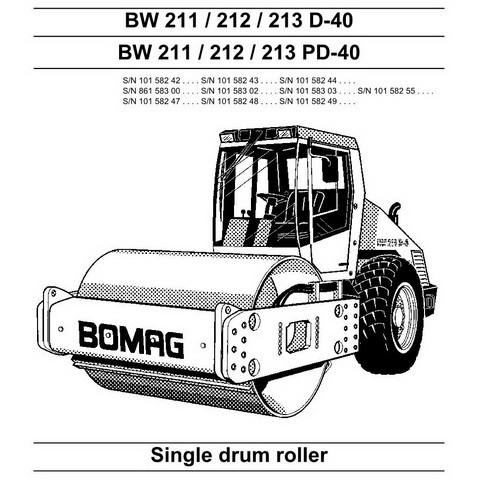 Bomag BW 211/212/213 D-40/PD-40 Single Drum Roller Repair Service Manual