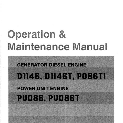 Doosan P086TI, P086Tl-1, D1146T, D1146, PU086T & PU086 Engine Operation and Maintenance Manual