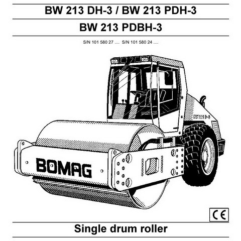 Bomag BW 213 DH-3/PDH-3/PDBH-3 Single Drum Roller Operation & Maintenance Instructions Manual