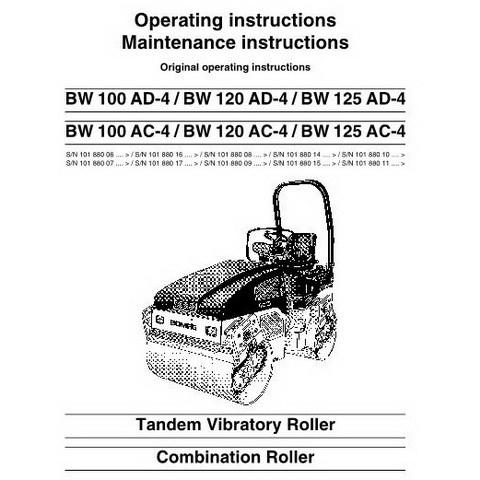 Bomag BW100AD-4/BW120AD-4/BW125AD-4/BW100AC-4/BW120AC-4/BW125AC-4 Roller OM Manual
