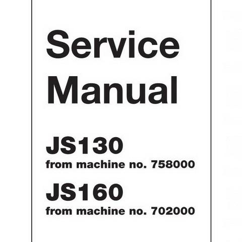 JCB JS130, JS160 Tracked Excavator Repair Service Manual
