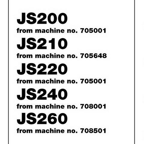 JCB JS200, JS210, JS220, JS240, JS260 Tracked Excavator Service Repair Manual