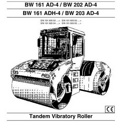 Bomag BW 161, BW 202, BW 203 AD-4/ADH-4 Tandem Vibratory Roller Operation & Maintenance Instructions