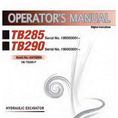 Takeuchi TB285 & TB290 Hydraulic Excavator Operator's Manual