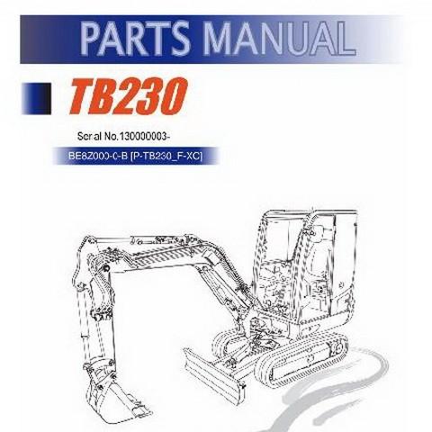 Takeuchi TB230 Mini Excavator Parts Manual