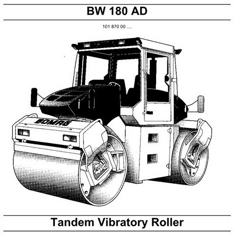 Bomag BW 180 AD Tandem Vibratory Roller Repair Instructions Manual