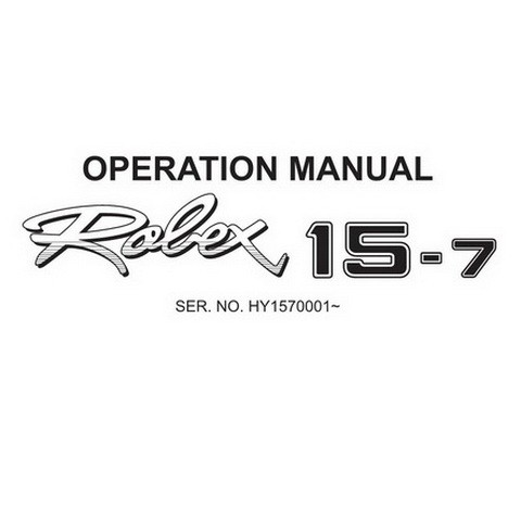 Hyundai Robex 15-7 / R15-7 Mini Excavator Operation & Maintenance Manual