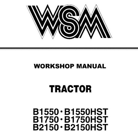 Kubota B1550, B1550HST, B1750, B1750HST, B2150 & B2150HST Tractor Service Repair Workshop Manual