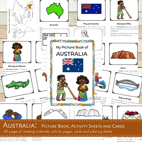 AUSTRALIA:  Picture Book, Activity Pages and Cards