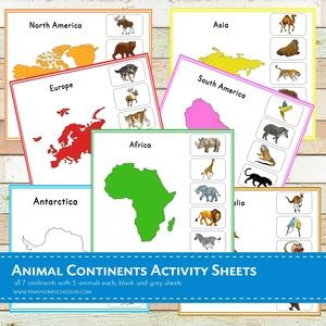 Animal Continents Activity Sheets