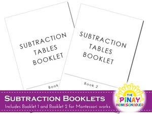 Montessori Subtraction Booklets
