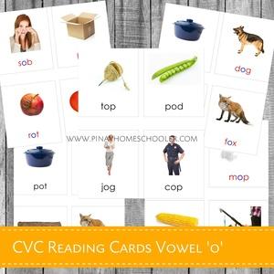 Montessori CVC Reading Cards Vowel 'O'