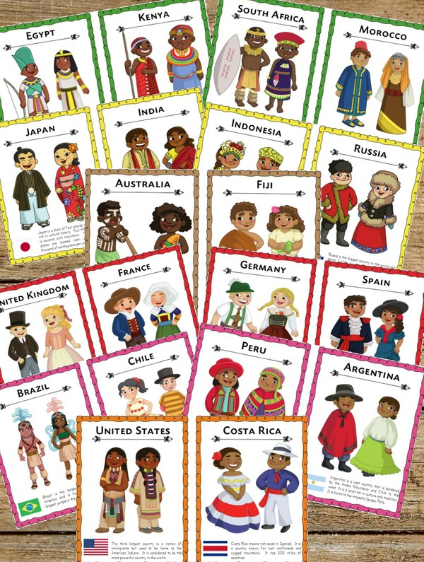 Multiculture Traditional Costume Cards