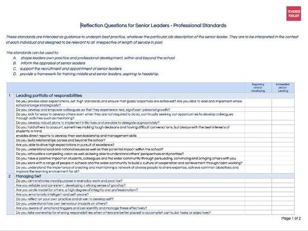 Senior Leaders Professional Standards Reflection Tool by @TeacherToolkit