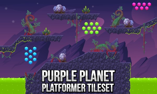Purple Planet - Platformer Tileset