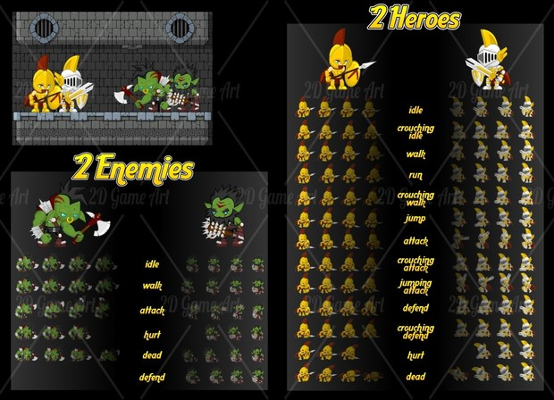 Knight vs Orc - Game Sprites