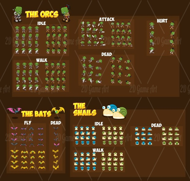 Orc Bros - 4 Directional Game Sprites