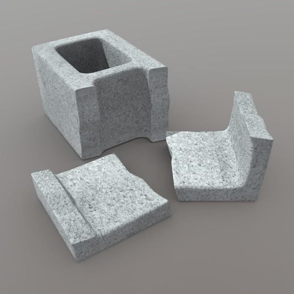 Cinder Block Broken 2 - low poly PBR 3d model