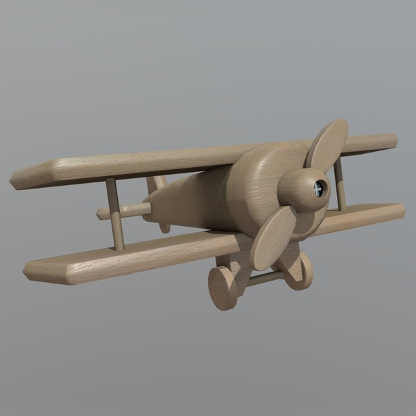 Wooden Plane - low poly PBR 3d model