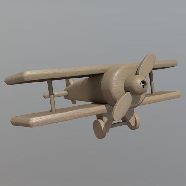 Wooden Plane - low poly PBR 3d model