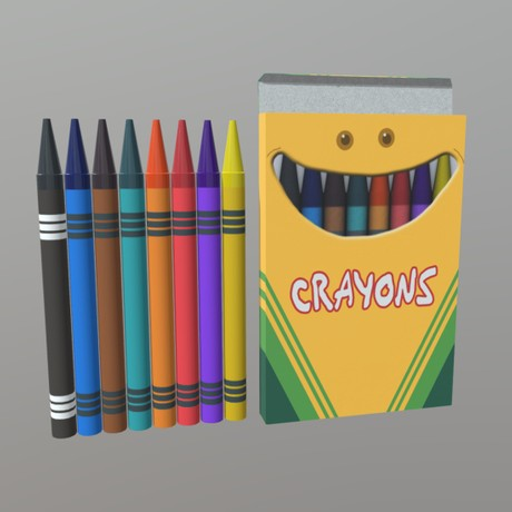 Crayons - low poly PBR 3d model