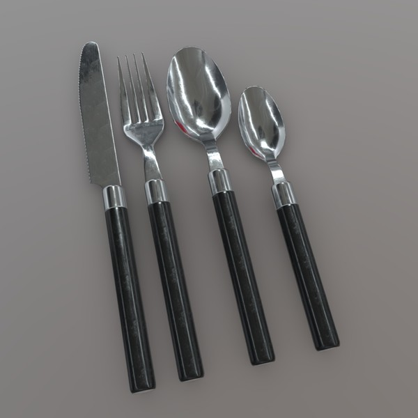 Cutlery 2 - low poly PBR 3d model