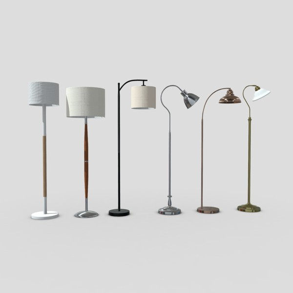 Standing Lamp Pack - low poly PBR 3d model
