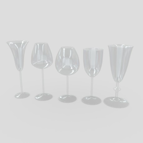 Cocktail Glass Set - low poly PBR 3d model