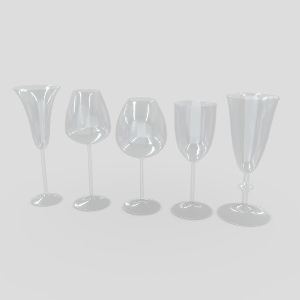 Cocktail Glass Set - low poly PBR 3d model