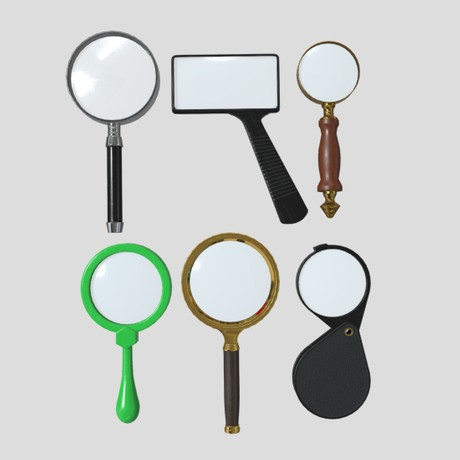 Magnifying Glass Pack - low poly PBR 3d model