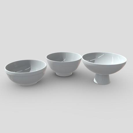Bowl Set - low poly PBR 3d model