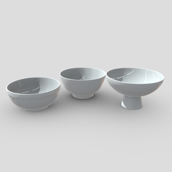 Bowl Set - low poly PBR 3d model