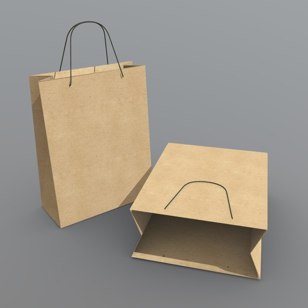 Paper bag - low poly PBR 3d model