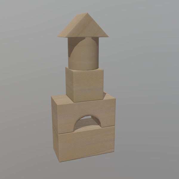 Wooden Toy Blocks - low poly PBR 3d model