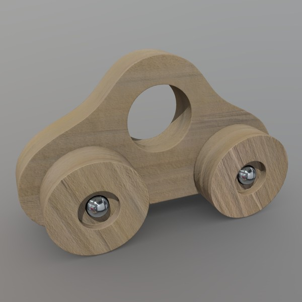 Wooden Car Toy - low poly PBR 3d model