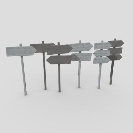 Wooden Sign Set - low poly PBR 3d model