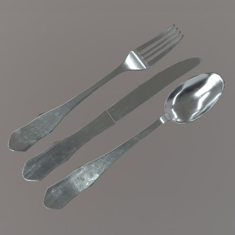 Cutlery - low poly PBR 3d model