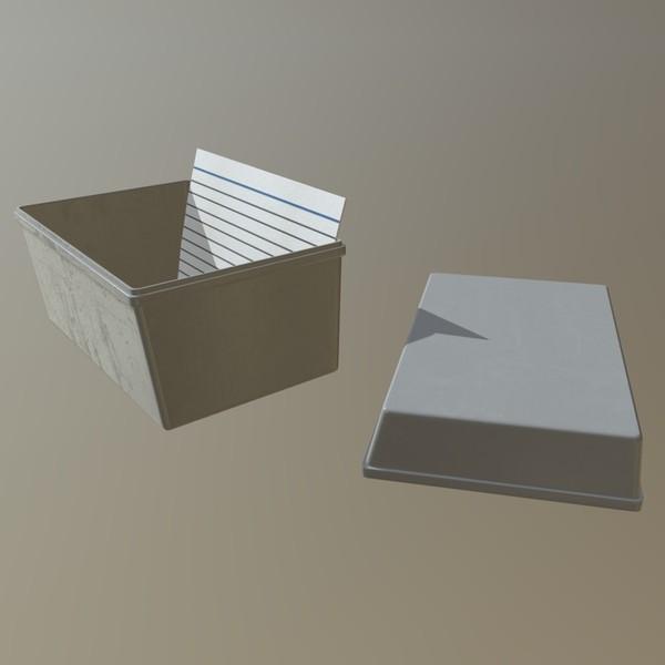 Notecard box - low poly PBR 3d model