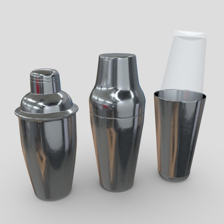 Cocktail Shaker Pack - low poly PBR 3d model