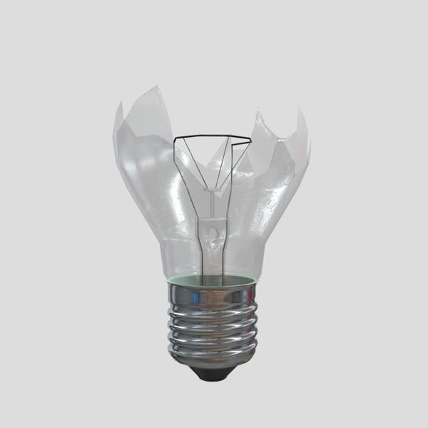 Light Bulb Broken - low poly PBR 3d model