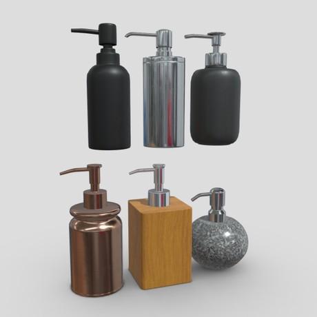 Soap Dispenser Pack - low poly PBR 3d model