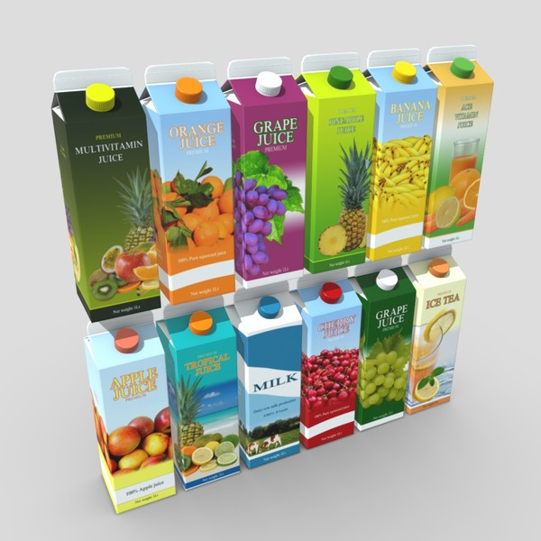 Juice Carton Pack 3 - low poly PBR 3d model