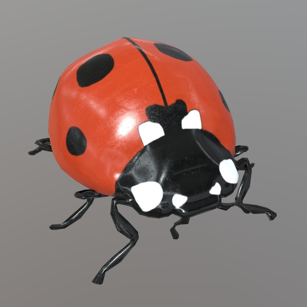Ladybug plastic - low poly PBR 3d model