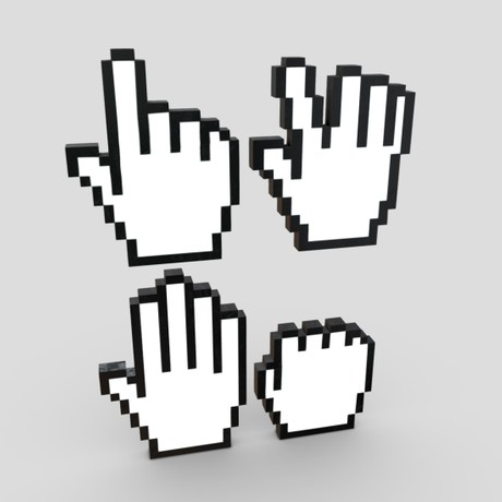 Cursor Hand Pack - low poly PBR 3d model