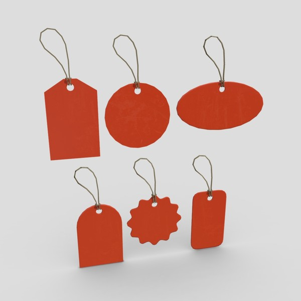Price Tags Pack - low poly PBR 3d model
