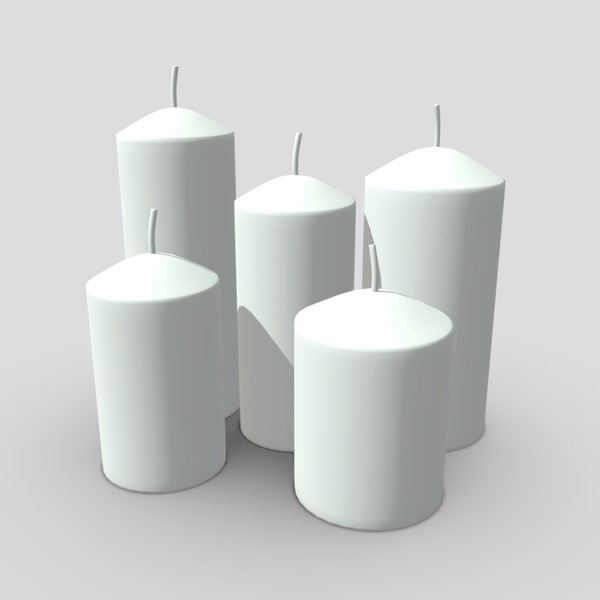 Candle Set - low poly PBR 3d model