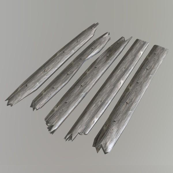 Planks broken - low poly PBR 3d model