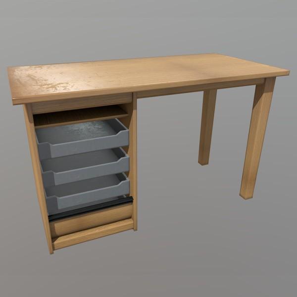 Desk - low poly PBR 3D Model