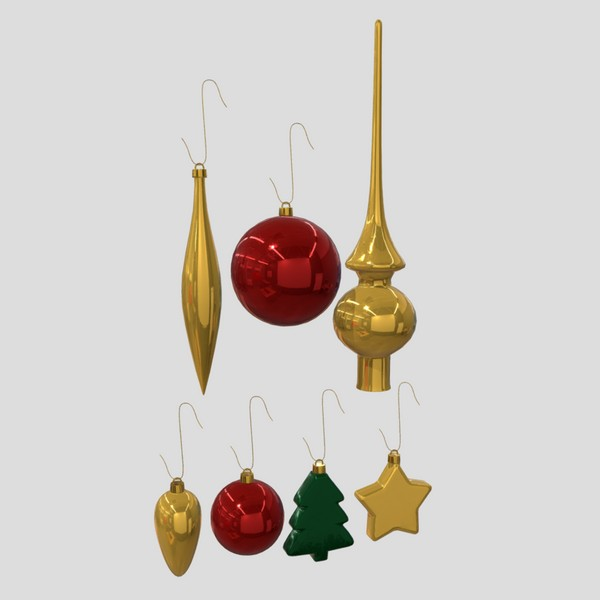 Christmas Bauble Pack - low poly PBR 3d model