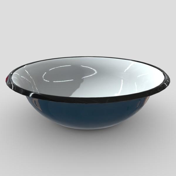 Enamel Bowl 3 - low poly PBR 3d model